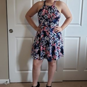 Express Foral Fit and Flare Dress